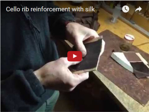 Reinforcing a cello rib with silk