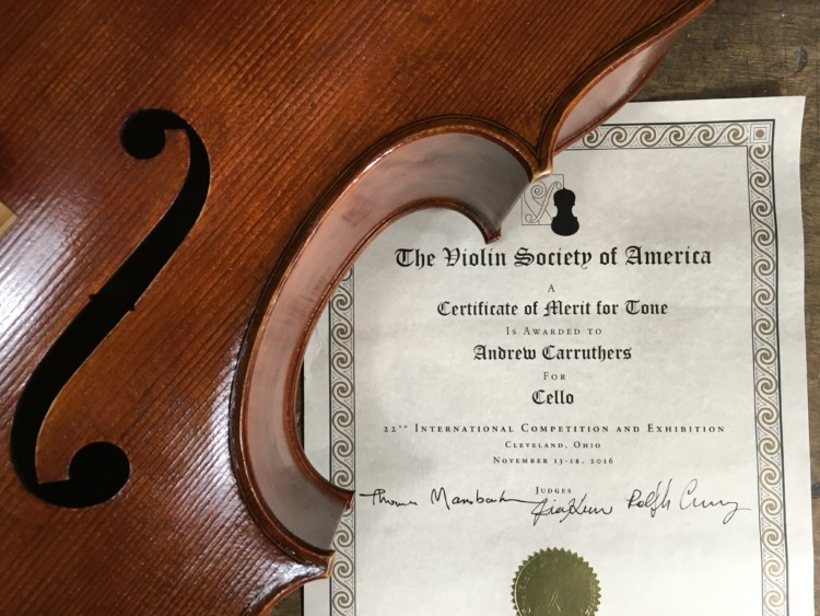 VSA 2016 – Certificate of merit for cello tone!