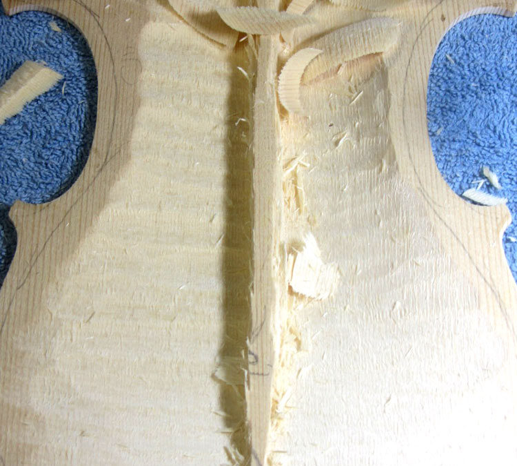 A method for hollowing and rough-thicknessing  violin plates.
